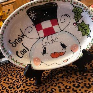 Snow Cool, Oval Snowman Platter!